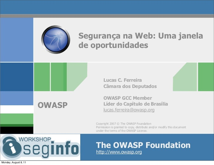 Segurança na Web: Uma janela                               de oportunidades                                       Lucas C....