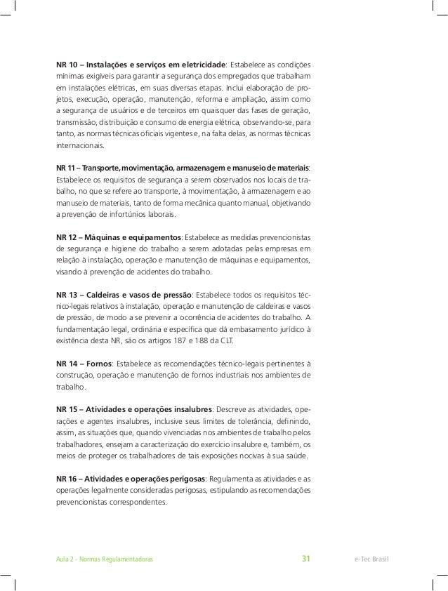... Regulamentadoras 33  31. NR 32 – Segurança e saúde no trabalho em  estabelecimentos ... 765347f723