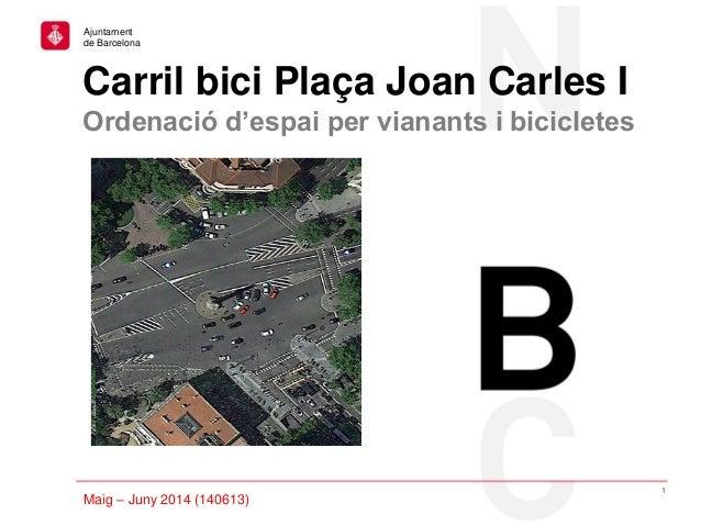 Fundacions: projecte simplificació / Febrer 2013 Carril bici Plaça Joan Carles I Ordenació d'espai per vianants i biciclet...