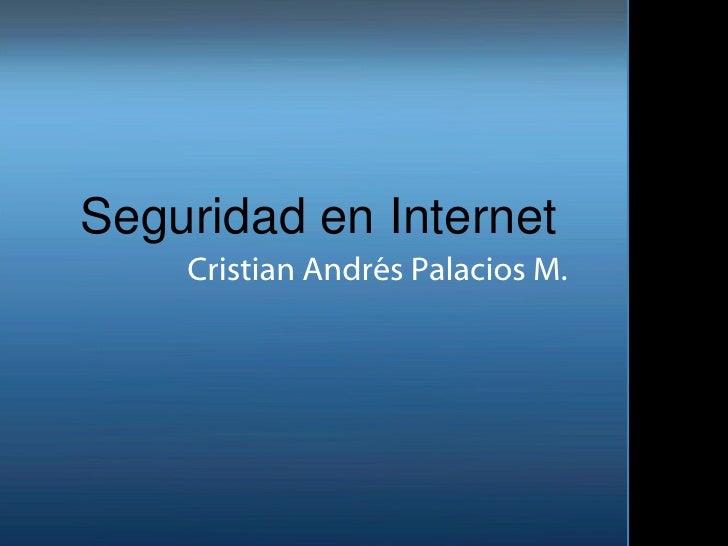 Seguridad en Internet Cristian Andrés  Palacios  M.