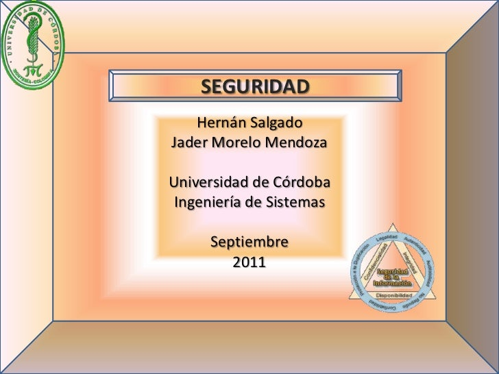 SEGURIDAD   Hernán SalgadoJader Morelo MendozaUniversidad de Córdoba Ingeniería de Sistemas     Septiembre        2011