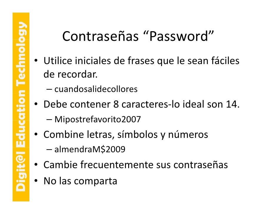 """E cation Tech ogy                                   Contraseñas Password                                   Contraseñas """"P..."""