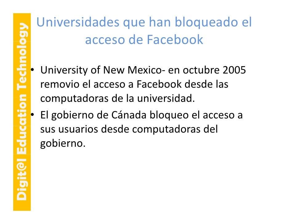 E cation Tech ogy    Universidades que han bloqueado el                                      acceso de Facebook          ...