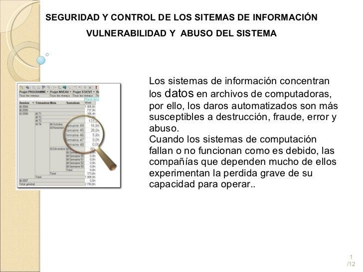 /12 SEGURIDAD Y CONTROL DE LOS SITEMAS DE INFORMACIÓN VULNERABILIDAD Y  ABUSO DEL SISTEMA <ul><ul><li>Los sistemas de info...