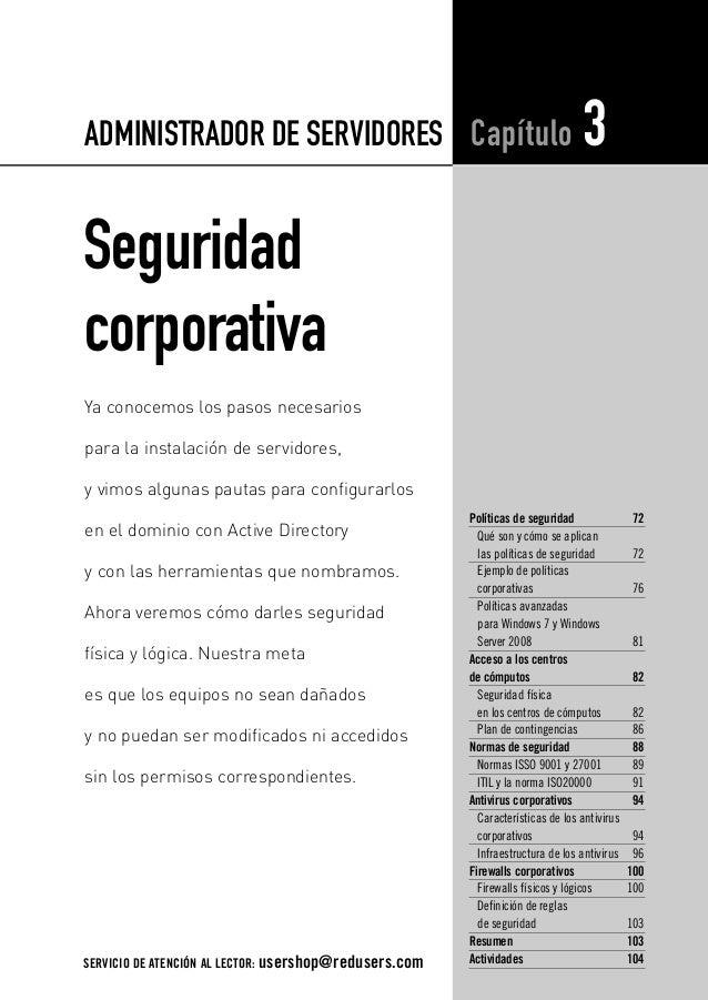 03_Adm de Servidores_AJUSTADO.qxp  4/12/11  12:13 PM  Page 71  ADMINISTRADOR DE SERVIDORES Capítulo  3  Seguridad corporat...