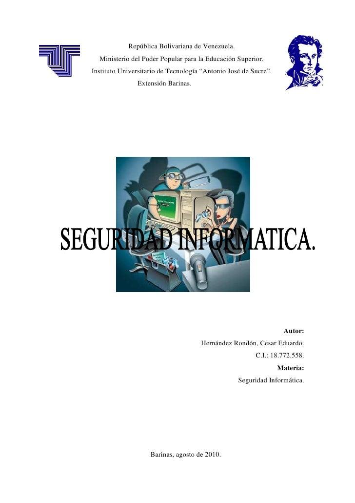 República Bolivariana de Venezuela.   Ministerio del Poder Popular para la Educación Superior. Instituto Universitario de ...
