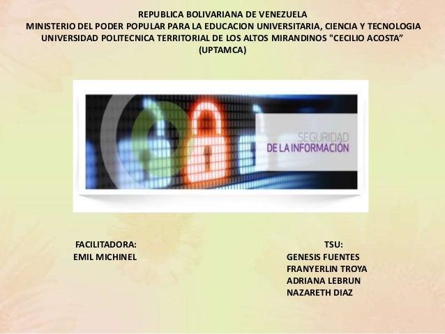 REPUBLICA BOLIVARIANA DE VENEZUELA MINISTERIO DEL PODER POPULAR PARA LA EDUCACION UNIVERSITARIA, CIENCIA Y TECNOLOGIA UNIV...