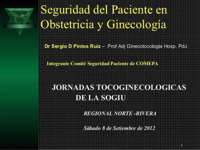 Seguridad del Paciente enObstetricia y GinecologíaDr Sergio D Pintos Ruiz – Prof Adj Ginecotocologia Hosp. Pdú Integrante ...