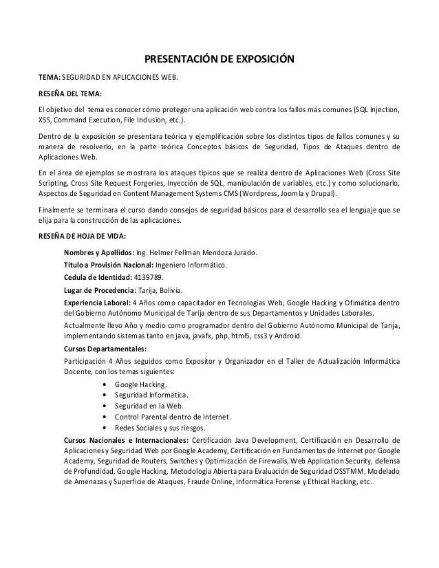 PRESENTACIÓN DE EXPOSICIÓN TEMA: SEGURIDAD EN APLICACIONES WEB. RESEÑA DEL TEMA: El objetivo del tema es conocer cómo prot...
