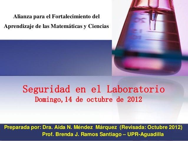 Seguridad en el Laboratorio Domingo,14 de octubre de 2012  Preparada por: Dra. Aida N. Méndez Márquez (Revisada: Octubre 2...