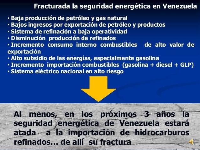 • Baja producción de petróleo y gas natural • Bajos ingresos por exportación de petróleo y productos • Sistema de refinaci...