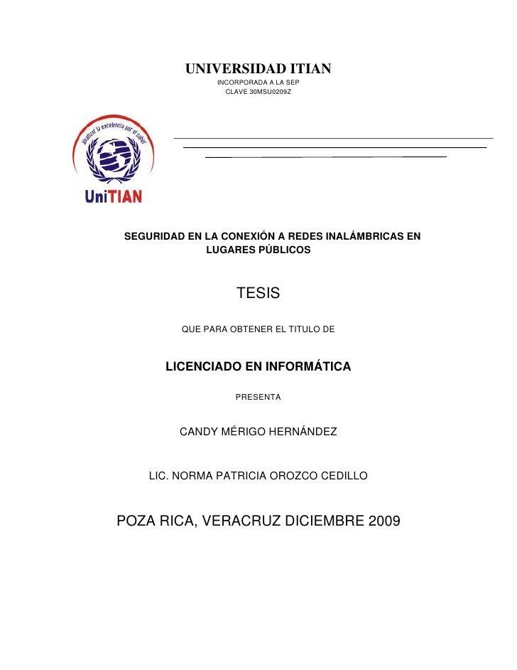 UNIVERSIDAD ITIAN                INCORPORADA A LA SEP                  CLAVE 30MSU0209Z     SEGURIDAD EN LA CONEXIÓN A RED...