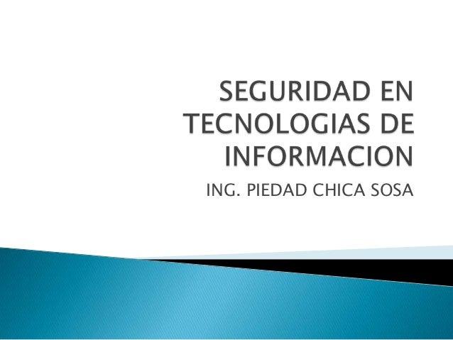 ING. PIEDAD CHICA SOSA