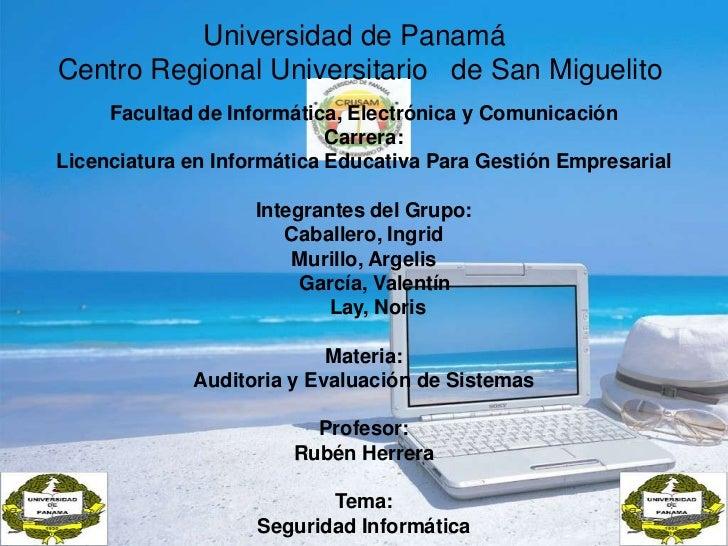 Universidad de Panamá<br />      Centro Regional Universitario   de San Miguelito<br />Facultad d...