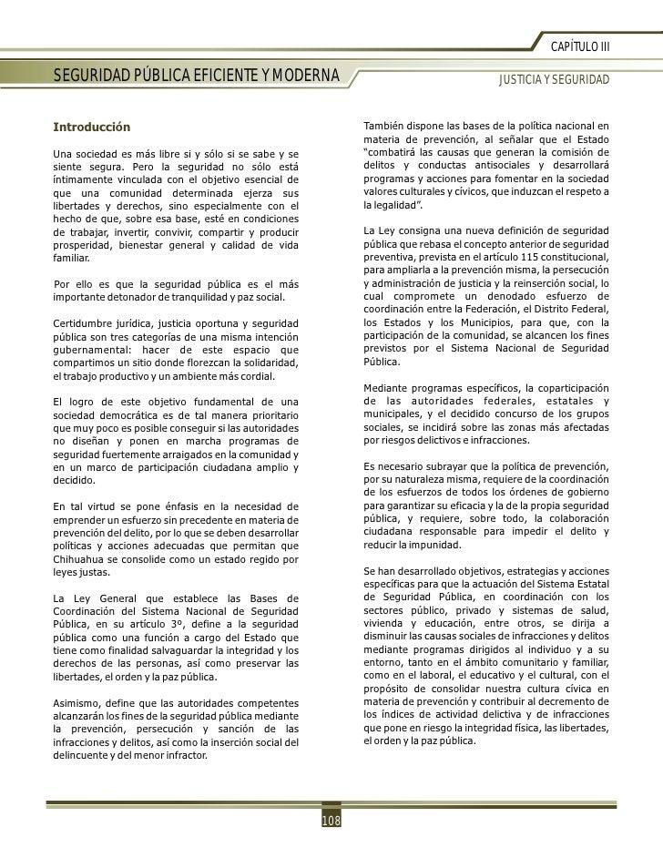 CAPÍTULO IIISEGURIDAD PÚBLICA EFICIENTE Y MODERNA                                                          JUSTICIA Y SEGU...