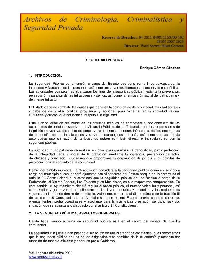 SEGURIDAD PÚBLICA                                                                          Enrique Gómez Sánchez1. INTRODU...