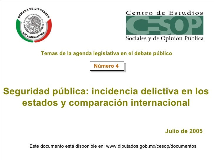 Seguridad pública: incidencia delictiva en los estados y comparación internacional Julio de 2005 Este documento está dispo...