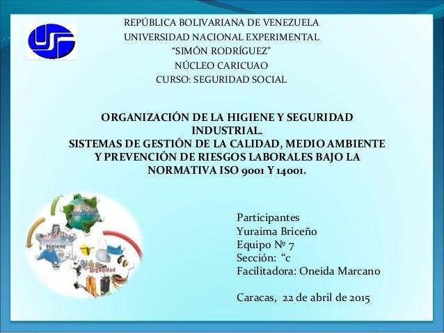 """REPÚBLICA BOLIVARIANA DE VENEZUELA UNIVERSIDAD NACIONAL EXPERIMENTAL """"SIMÓN RODRÍGUEZ"""" NÚCLEO CARICUAO CURSO: SEGURIDAD SO..."""