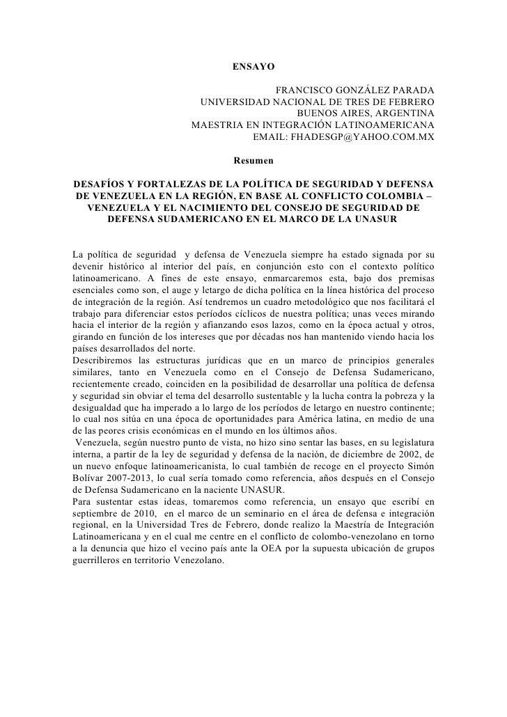 ENSAYO                                           FRANCISCO GONZÁLEZ PARADA                              UNIVERSIDAD NACION...