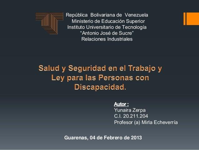 """República Bolivariana de Venezuela  Ministerio de Educación SuperiorInstituto Universitario de Tecnología       """"Antonio J..."""
