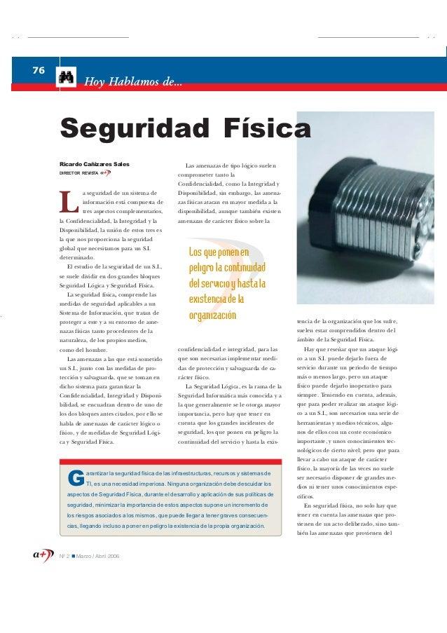 76                            Hoy Hablamos de...                Seguridad Física                Ricardo Cañizares Sales   ...