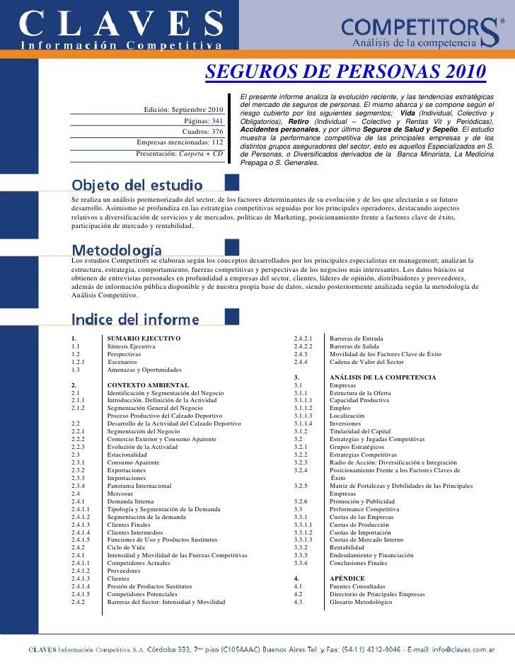 SEGUROS DE PERSONAS 2010                                                           El presente informe analiza la evolució...