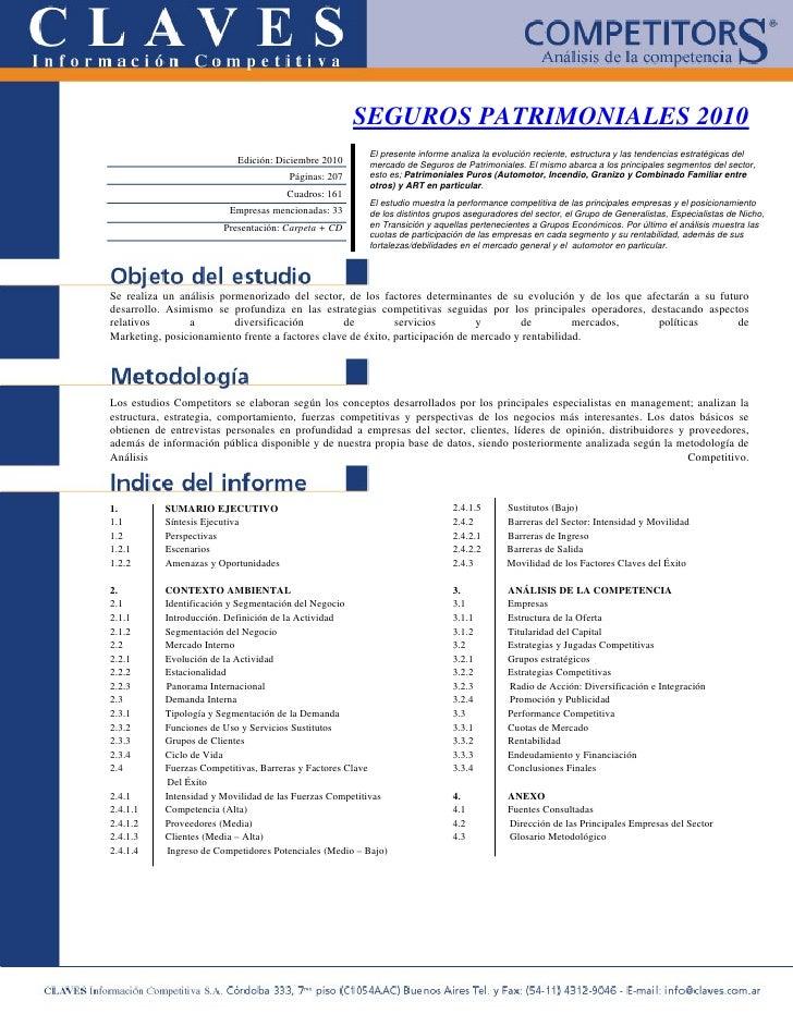 SEGUROS PATRIMONIALES 2010                                                         El presente informe analiza la evolució...