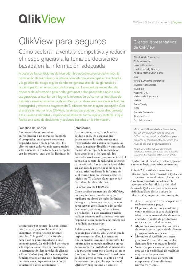 QlikView | Ficha técnica del sector | SegurosDesafíos del sectorLas aseguradoras continúanenfrentándose a un mercado favor...