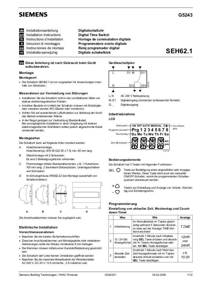 G5243 de en fr it es nl  Installationsanleitung Installation Instructions Instructions d'installation Istruzioni di montag...