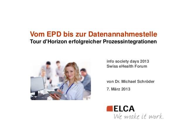 Vom EPD bis zur DatenannahmestelleTour dHorizon erfolgreicher Prozessintegrationen                             info societ...