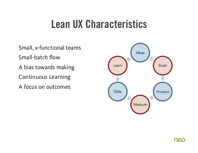 Lean UX Characteristics Small, x-functional teams Small-batch flow A bias towards making Continuous Learning A focus on ou...