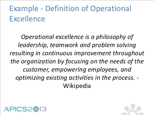 A New Perspective on Operational Excellence