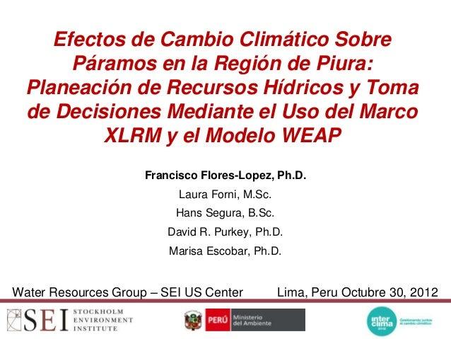 Efectos de Cambio Climático Sobre       Páramos en la Región de Piura:  Planeación de Recursos Hídricos y Toma  de Decisio...
