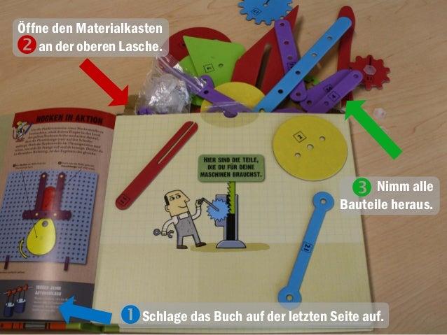 Öffne den Materialkasten an der oberen Lasche. Nimm alle Bauteile heraus.  Schlage das Buch auf der letzten Seite auf.