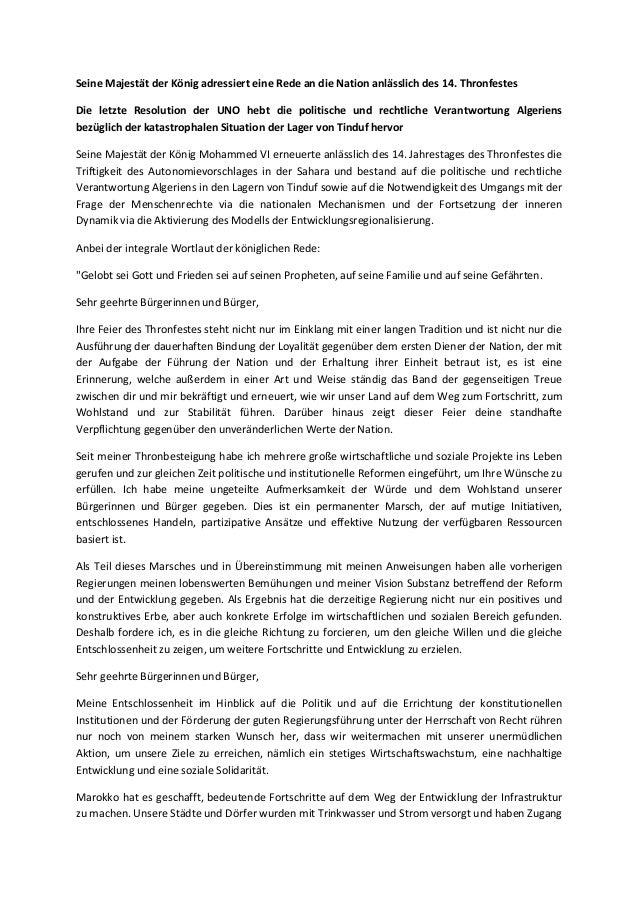 Seine Majestät der König adressiert eine Rede an die Nation anlässlich des 14. Thronfestes Die letzte Resolution der UNO h...