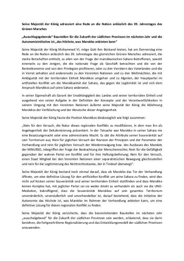 """Seine Majestät der König adressiert eine Rede an die Nation anlässlich des 39. Jahrestages des  Grünen Marsches  """"Ausschla..."""