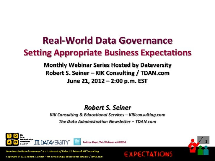 Real-World Data Governance               Setting Appropriate Business Expectations                                Monthly ...