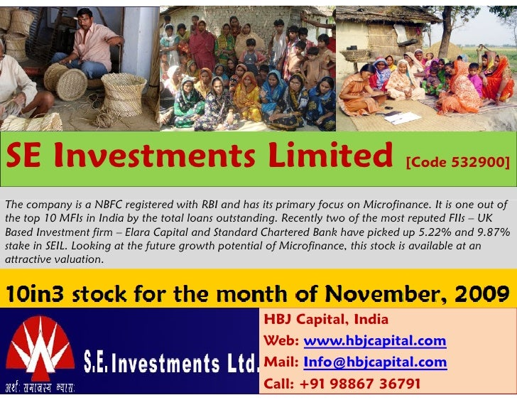 SE Investments Limited                                                         [Code 532900]The company is a NBFC register...