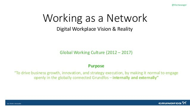 Working as a Network Digital Workplace Vision & Reality @thomasasger Click to edit Master text styles Global Working Cultu...