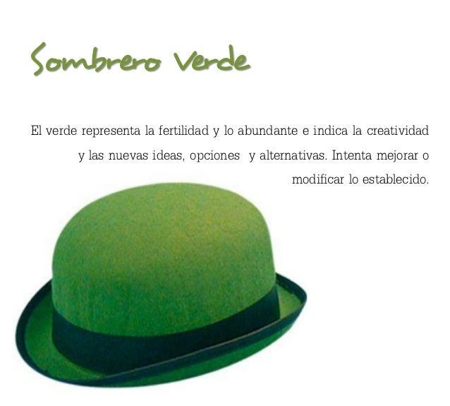 Sombrero VerdeEl verde representa la fertilidad y lo abundante e indica la creatividad        y las nuevas ideas, opciones...