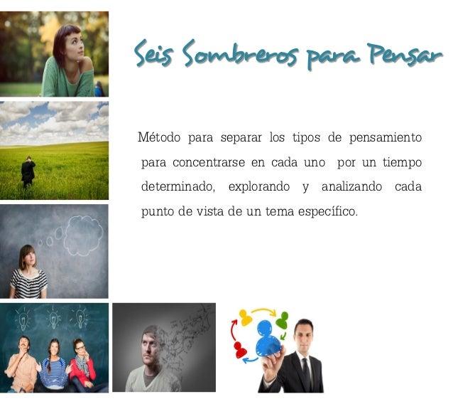 Seis Sombreros para PensarMétodo para separar los tipos de pensamientopara concentrarse en cada uno por un tiempodetermina...