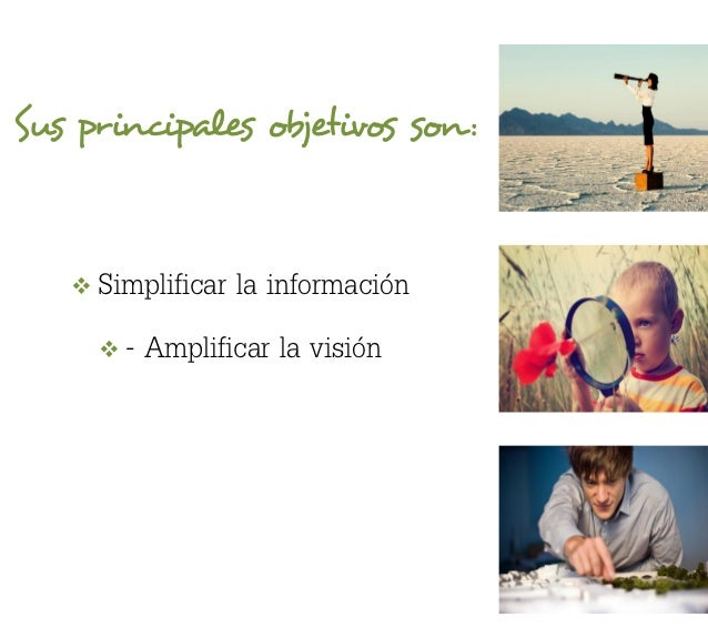 Sus principales objetivos son :      Simplificar la información        - Amplificar la visión