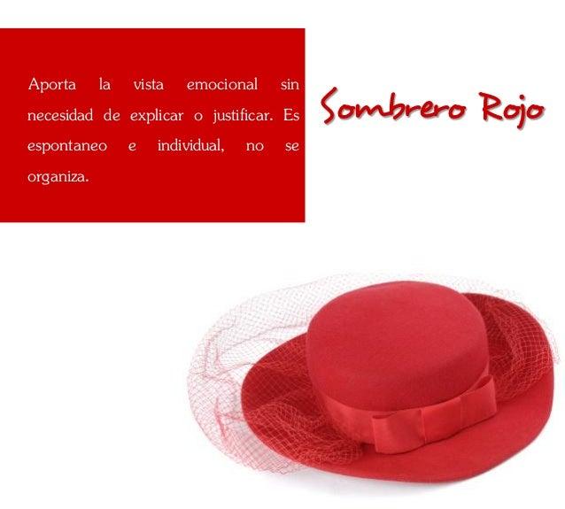 Aporta la vista emocional sinnecesidad de explicar o justificar. Es   Sombrero Rojoespontaneo e individual, no seorganiza.