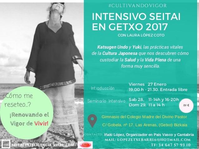 INTENSIVO SEITAI EN GETXO 2017 SEITAI INTELIGENCIA VITAL.COM #CULTIVANDOVIGOR CONTACTO: IñakiLópez,OrganizadorenPaísV...