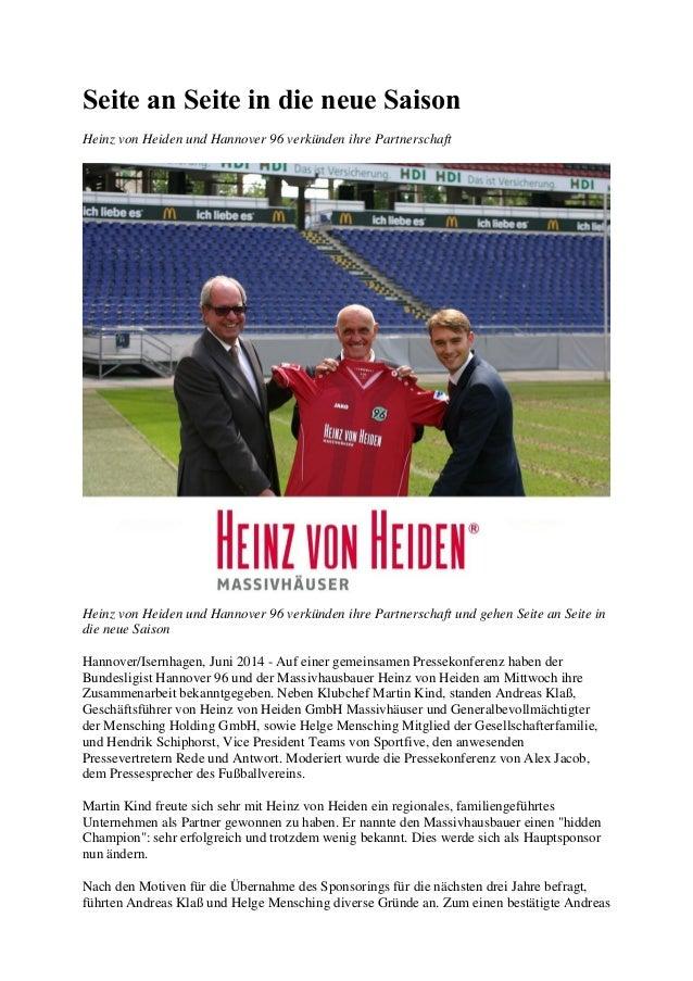 Seite an Seite in die neue Saison Heinz von Heiden und Hannover 96 verkünden ihre Partnerschaft Heinz von Heiden und Hanno...