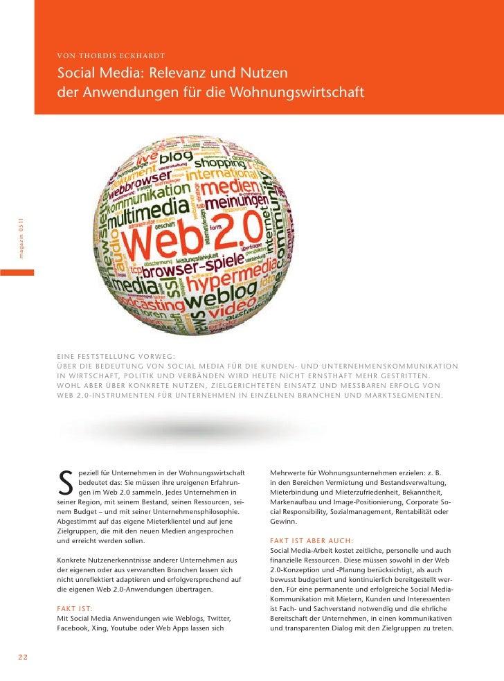 VON T H ORDI S ECK H A R DT                  Social Media: Relevanz und Nutzen                  der Anwendungen für die Wo...