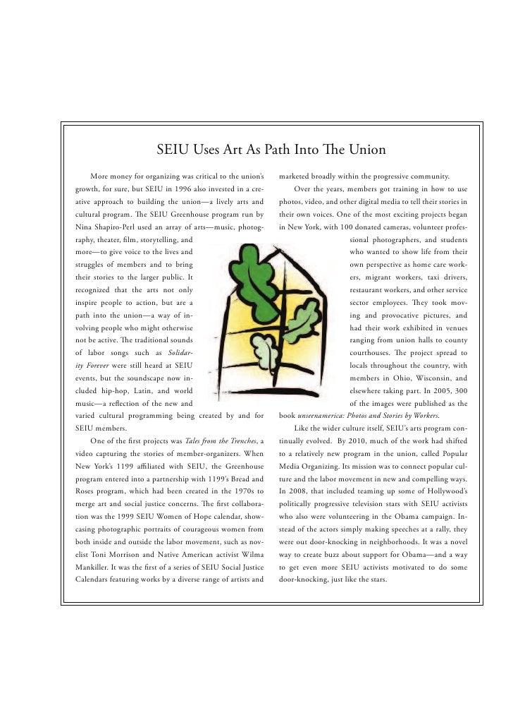 SEIU Uses Art As Path Into                               e Union      More money for organizing was critical to the union'...