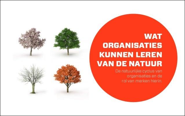 WAT  ORGANISATIES KUNNEN LEREN  VAN DE NATUUR  De natuurlijke cyclus van  organisaties en de  rol van merken hierin.
