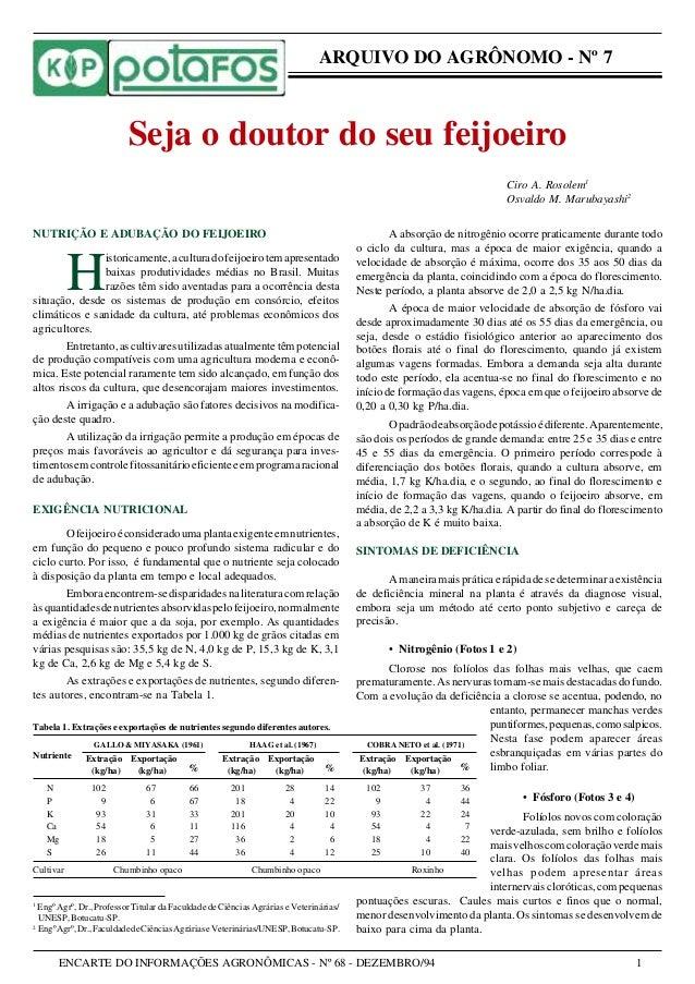 ENCARTE DO INFORMAÇÕES AGRONÔMICAS - Nº 68 - DEZEMBRO/94 1 Tabela 1. Extrações e exportações de nutrientes segundo diferen...