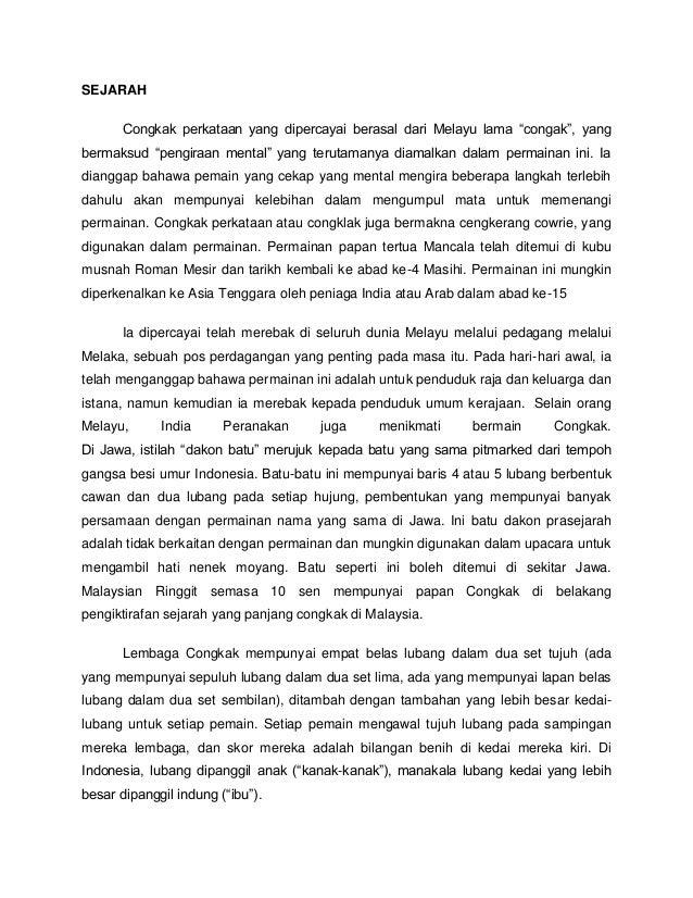 """SEJARAH Congkak perkataan yang dipercayai berasal dari Melayu lama """"congak"""", yang bermaksud """"pengiraan mental"""" yang teruta..."""